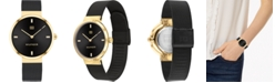 Tommy Hilfiger Women's Black Stainless Steel Mesh Bracelet Watch 35mm, Created For Macy's