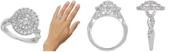 Macy's Certified Diamond Composite Cluster Ring (1 ct. t.w.) in 14k White Gold