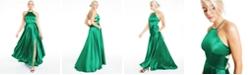 Blondie Nites Juniors' Tie-Back Faux-Wrap Gown