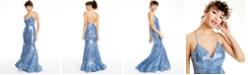 City Studios Juniors' Sequin Cross-Back-Strap Gown