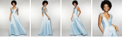 Speechless Juniors' Feather-Trim Satin Gown