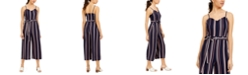 Almost Famous Juniors' Belted Striped Jumpsuit