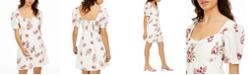 Sequin Hearts Juniors' Puff-Sleeve Floral-Print Dress