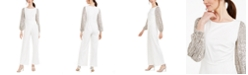 Adrianna Papell Sequined-Sleeve Crepe Jumpsuit
