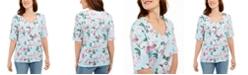Karen Scott Petite Floral-Print Top, Created For Macy's