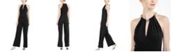 Calvin Klein Beaded Keyhole Halter Jumpsuit