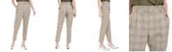 Calvin Klein Plaid Paperbag-Waist Pants