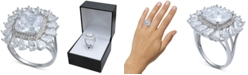 Macy's Cubic Zirconia Cushion & Pear Halo Statement Ring in Sterling Silver