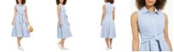 Charter Club Mommy & Me Petite Cotton Striped Seersucker Tie-Waist Shirtdress, Created For Macy's
