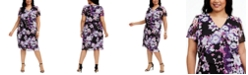 Connected Plus Size Floral-Print Chiffon Midi Dress