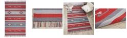 """Long Street Looms Macah MAC01 Gray, Red 6'6"""" x 9'6"""" Area Rug"""