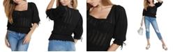 GUESS Kiera Puff-Sleeve Pointelle Sweater
