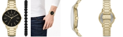 A|X Armani Exchange Men's Cayde Gold-Tone Stainless Steel Bracelet Watch 42mm Gift Set