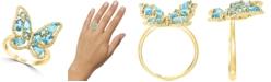 Macy's LALI Jewels Swiss Blue Topaz (2-1/20 ct. t.w.) & Diamond (1/6 ct. t.w.) Butterfly Ring in 14k Gold