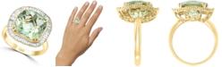 LALI Jewels Green Amethyst (5-1/4 ct. t.w.) & Diamond (1/2 ct. t.w.) Statement Ring in 14k Gold