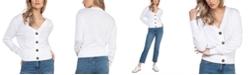 Black Tape V-Neck Button-Down Cardigan Sweater