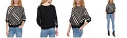 DKNY Printed Mixed-Media Elbow-Sleeve Sweater