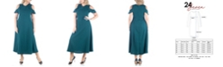 24seven Comfort Apparel Women's Plus Size Ruffle Cold Shoulder Maxi Dress