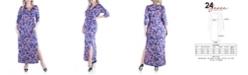 24seven Comfort Apparel Women's Plus Size Floral Print Side Slit Maxi Dress