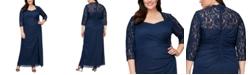 Alex Evenings Plus Size Lace-Trim Ruched Gown