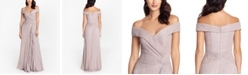 XSCAPE Off-The-Shoulder Metallic-Knit Gown