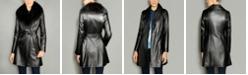 The Fur Vault Fox-Fur-Collar Belted Leather Coat
