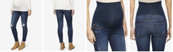 Luxe Essentials Denim Maternity Dark-Wash Distressed Skinny Jeans