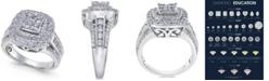 Macy's Diamond Halo Quad Ring (2 ct. t.w.) in 14k White Gold