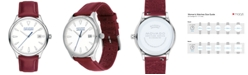 Movado Women's Swiss Heritage Series Calendoplan Red Leather Strap Watch 36mm