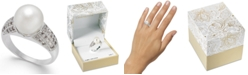 Charter Club Silver-Tone Pavé & Imitation Pearl Ring, Created for Macy's