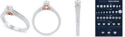 Macy's Certified Diamond Two-Tone Halo Engagement Ring (1/2 ct. t.w.) in 14k Rose and White Gold