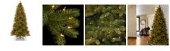 "National Tree Company National Tree 7 .5' ""Feel Real"" Downswept Douglas Slim Fir Hinged Tree with 600 Clear Lights"