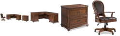 Furniture Clinton Hill Cherry Home Office, 3-Pc. Set (L-Shaped Desk, Lateral File Cabinet & Leather Desk Chair), Created for Macy's