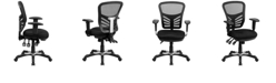 Flash Furniture Mid-Back Black Mesh Multifunction Executive Swivel Chair With Adjustable Arms