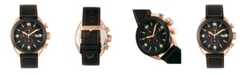 Morphic M64 Series, Rose Gold Case, Chronograph Rose Gold Piped Black Leather Band Watch w/ Date, 48mm