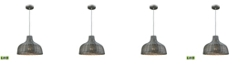ELK Lighting Pleasant Fields 1 Light Pendant with Graphite Hardware and Gray Wicker Shade