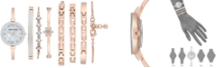 Anne Klein Women's Rose Gold-Tone Bangle Bracelet Watch Set 32mm