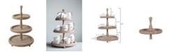 3R Studio Round 3-Tier Decorative Wood Tray