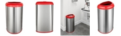 NINE STARS GROUP USA INC Nine Stars 13.2 Gallon Open Top Trash Can with Red Lid