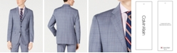 Calvin Klein Men's X-Fit Slim-Fit Natural Stretch Blue Plaid Suit Jacket
