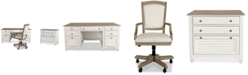 Furniture York Two-Tone Home Office, 3-Pc Furniture Set (Two-Tone Executive Desk, Upholstered Desk Chair & Lateral File Cabinet)