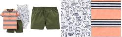 Carter's 3-Pc. Striped Cotton Shirt, Printed Bodysuit & Shorts Set