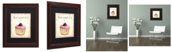 "Trademark Global Jennifer Nilsson Cherry Cupcake Matted Framed Art - 16"" x 16"" x 0.5"""