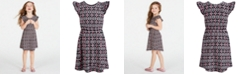 Epic Threads Super Soft Little Girls Geo-Print Fit & Flare Dress, Created for Macy's