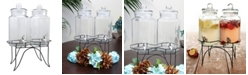 Gibson Home Party Duo Twin 1 Gallon Glass Beverage Dispenser with Wire Stand
