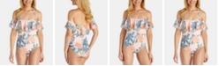 Raisins Juniors' Hawaii Moonstone Ruffled One-Piece Swimsuit