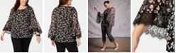 Alfani Plus Size Printed Lace-Trim Top, Created for Macy's