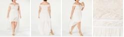 Morgan & Company Juniors' Trendy Plus Size Lace Off-The-Shoulder Dress