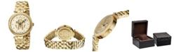 Roberto Cavalli By Franck Muller Women's Swiss Quartz Gold-Tone Stainless Steel Gold Dial Bracelet Watch, 34mm