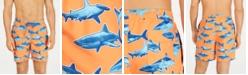 "Club Room Men's Quick-Dry Shark-Print 7"" Twill Swim Trunks, Created for Macy's"